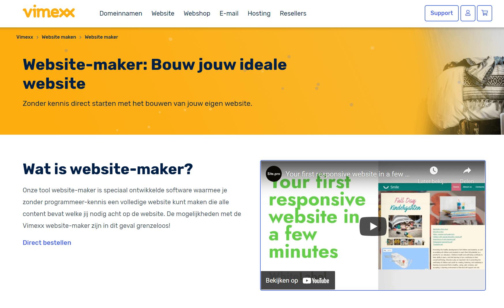 Vimexx-hosting-website-maker