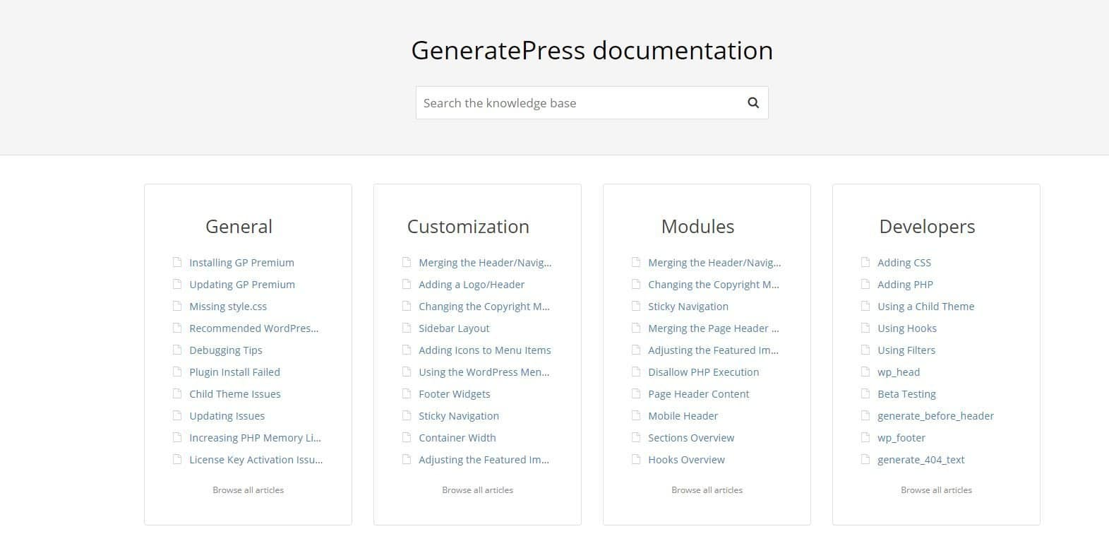 Generatepress-documentatie
