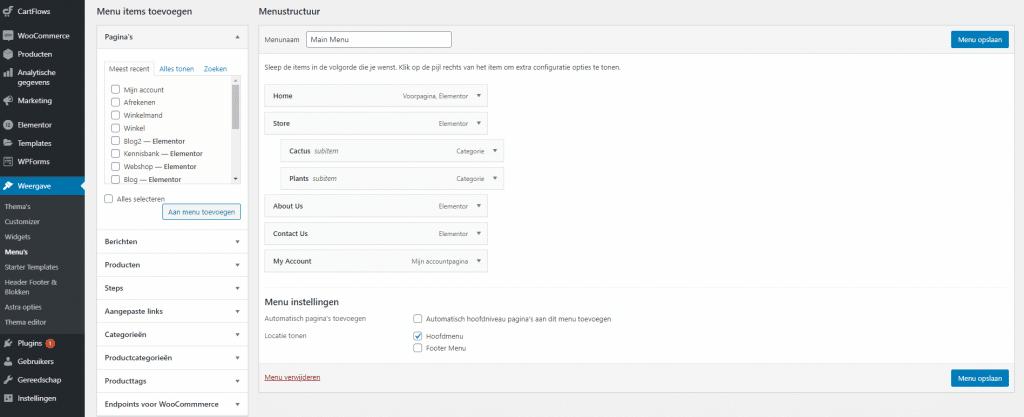 Menu-maken-WordPress-voor-webshops