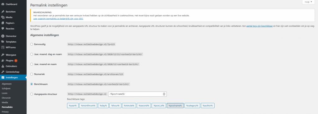 WordPress-website-bouwen-permalinks-aanpassen