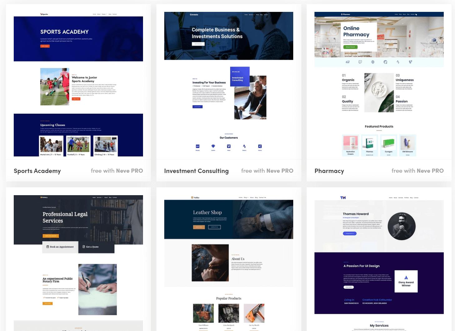 Neve-wordpress-theme-demo-websites
