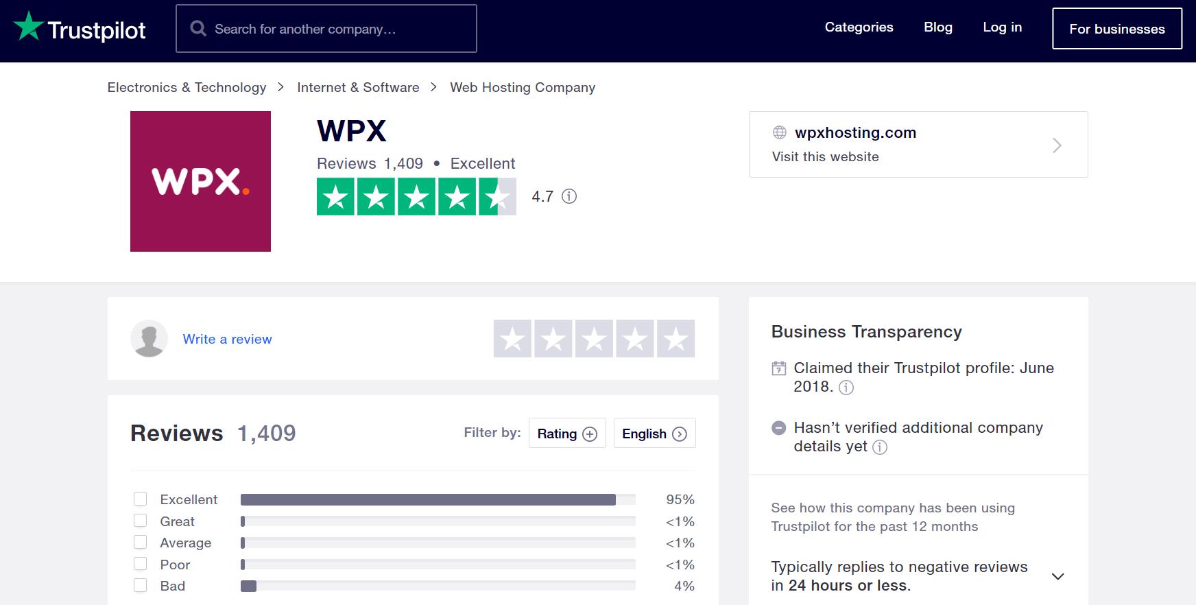 WPX-wordpress-hosting-trustpilot